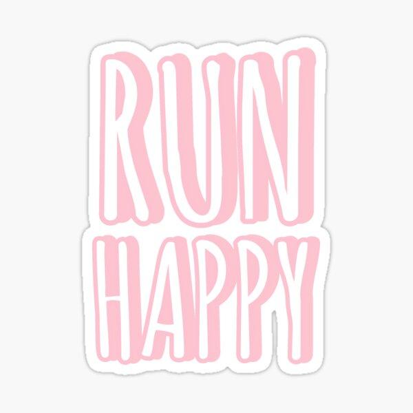 Run Happy pink pastel sticker Sticker
