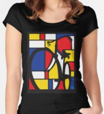 Mondrian Bicycle Women's Fitted Scoop T-Shirt