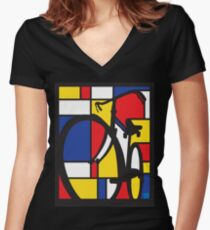 Mondrian Bicycle Women's Fitted V-Neck T-Shirt