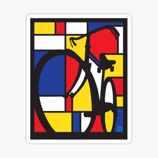Mondrian Bicycle art Sticker