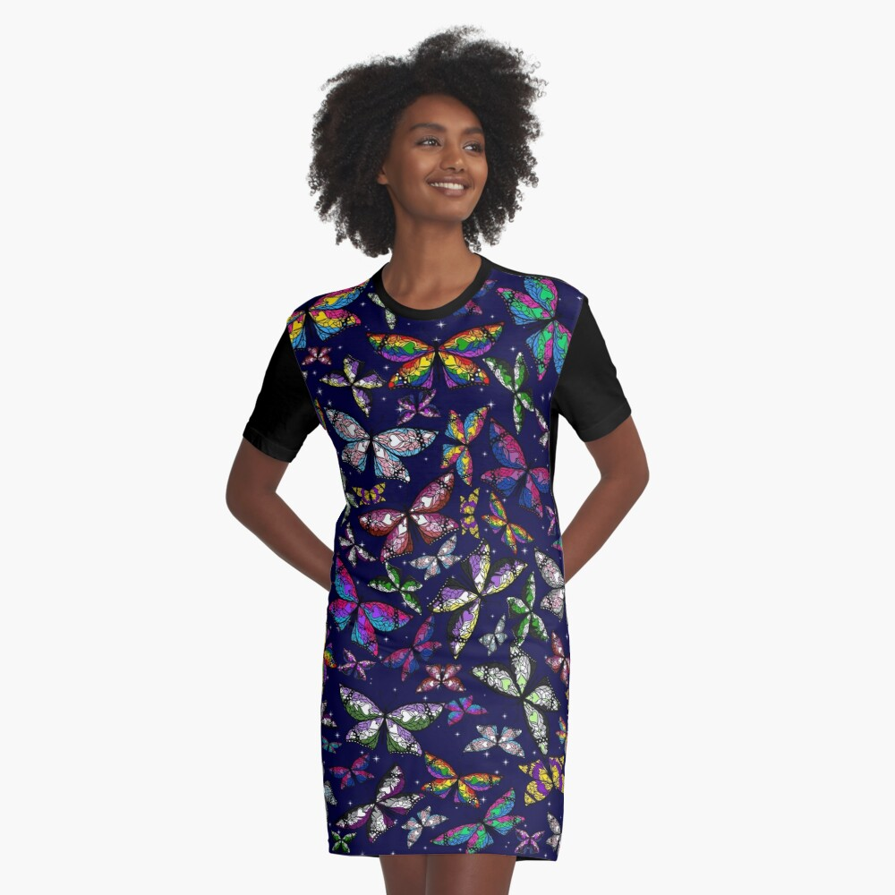 Fly With Pride: Butterfly Bonanza Graphic T-Shirt Dress