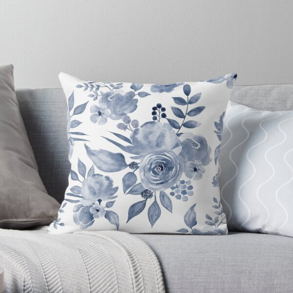 Hamptons Style Floral Design Throw Pillow