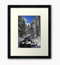 Mountain River Winter Landscape Framed Print