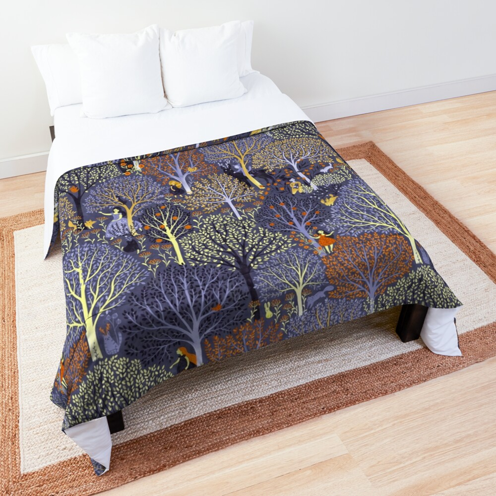 Magical Forest in blue Comforter