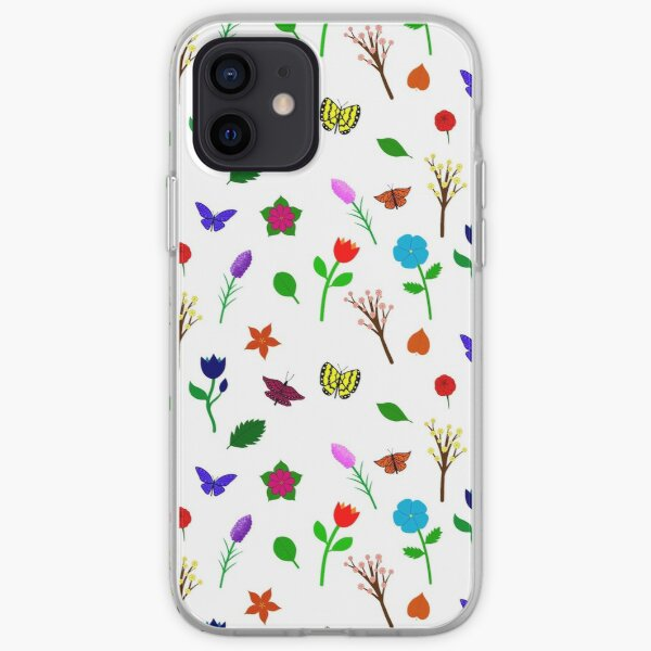 Scattered Flowers and Butterflies, no background iPhone Soft Case