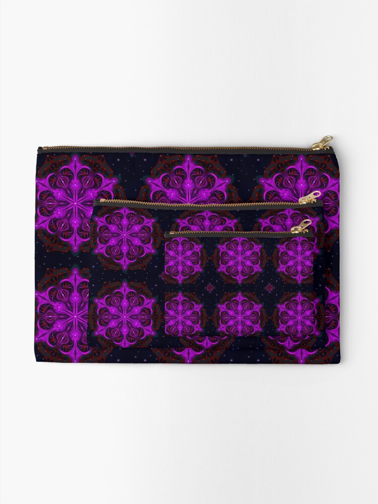 Alternate view of Spaceborne Orchid Snowflake Zipper Pouch