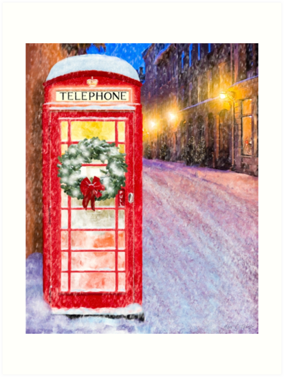 Very British Christmas - Cheerful Red Telephone Booth by Mark Tisdale