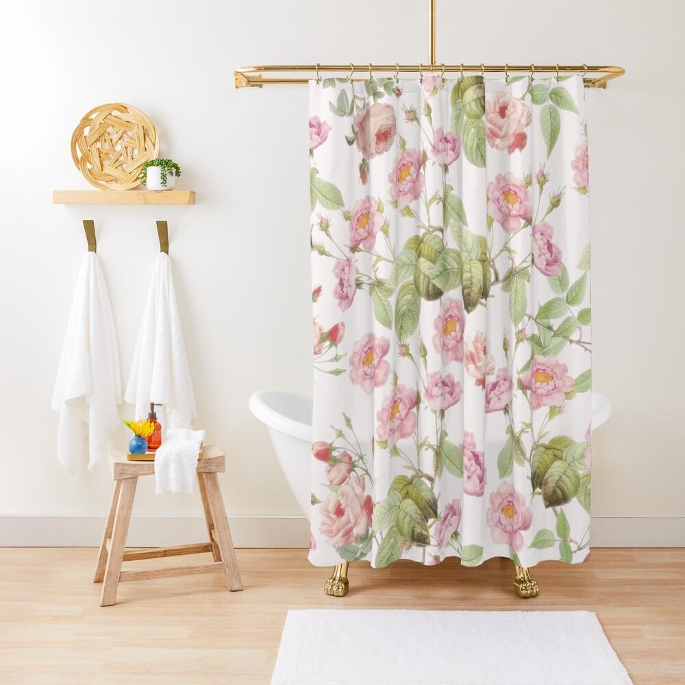 Old Vintage Roses on Pink Pattern  Shower Curtain