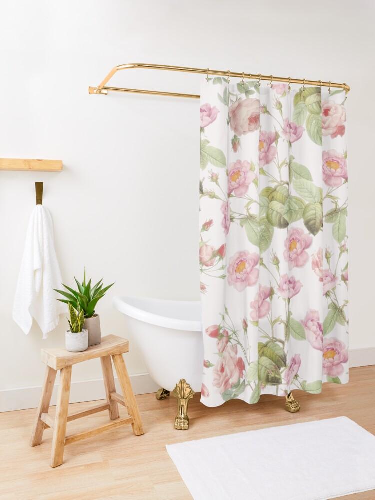 Alternate view of Old Vintage Roses on Pink Pattern  Shower Curtain
