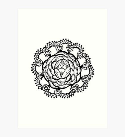 Art Deco Floral Mandala Art Print