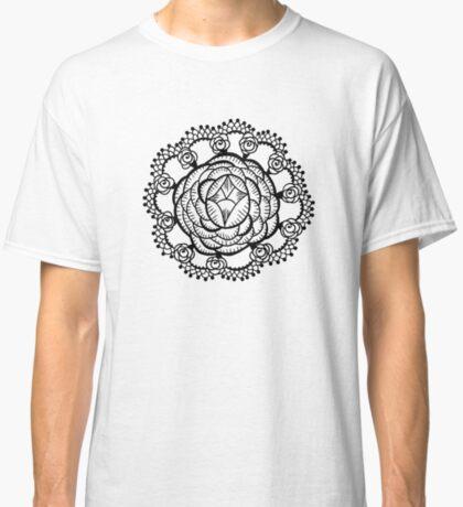 Art Deco Floral Mandala Classic T-Shirt