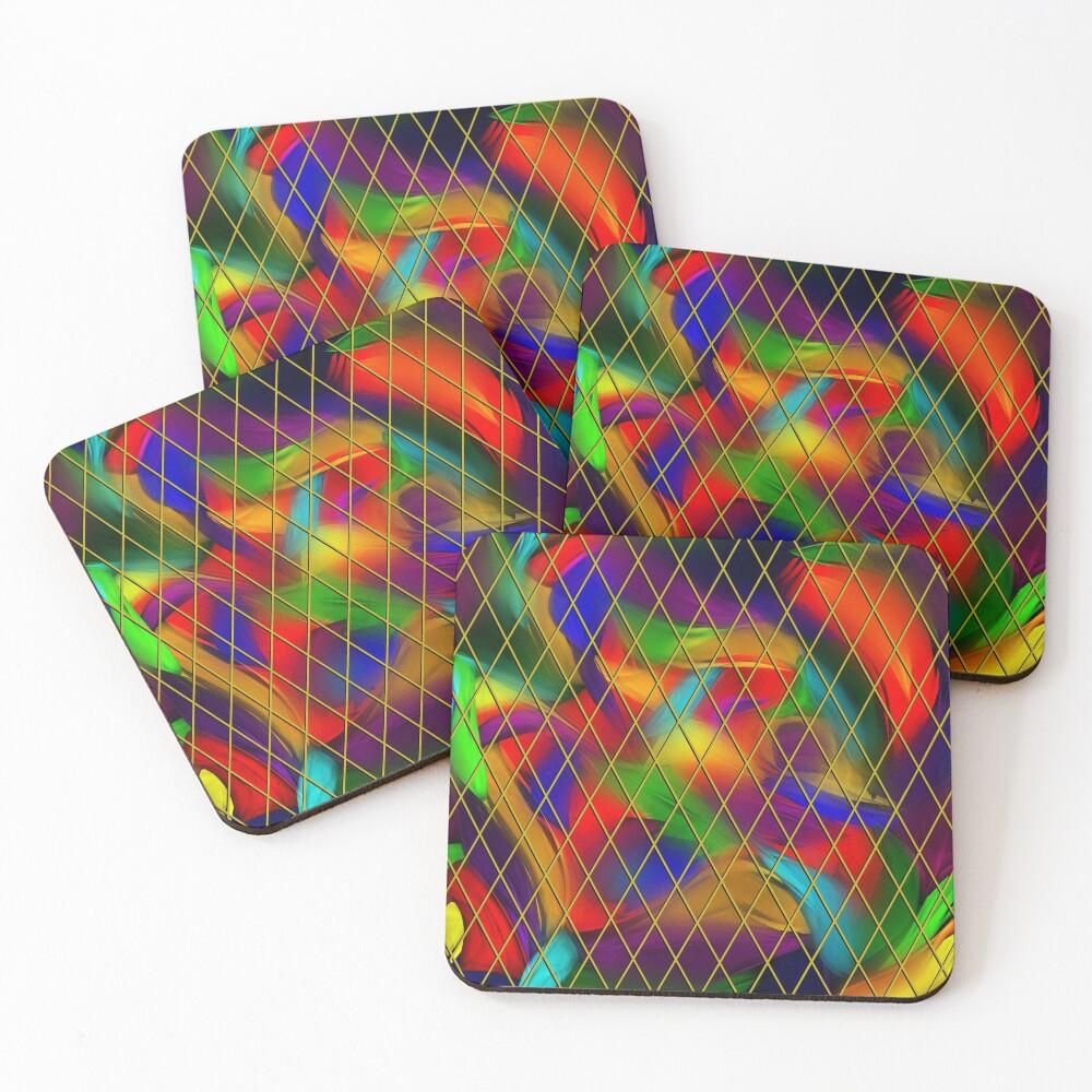 Golden Diamonds, Rainbow Void Coasters (Set of 4)