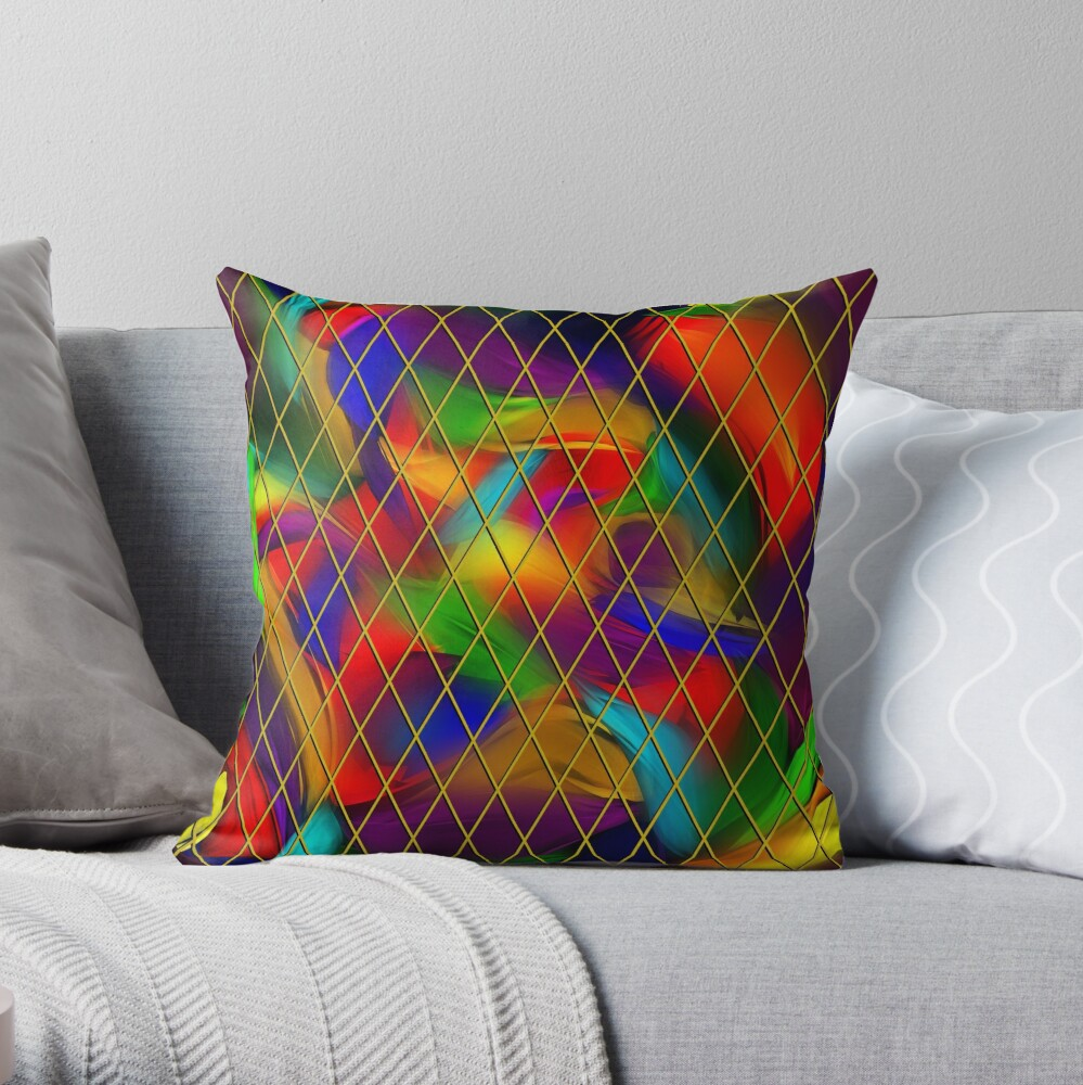 Golden Diamonds, Rainbow Void Throw Pillow