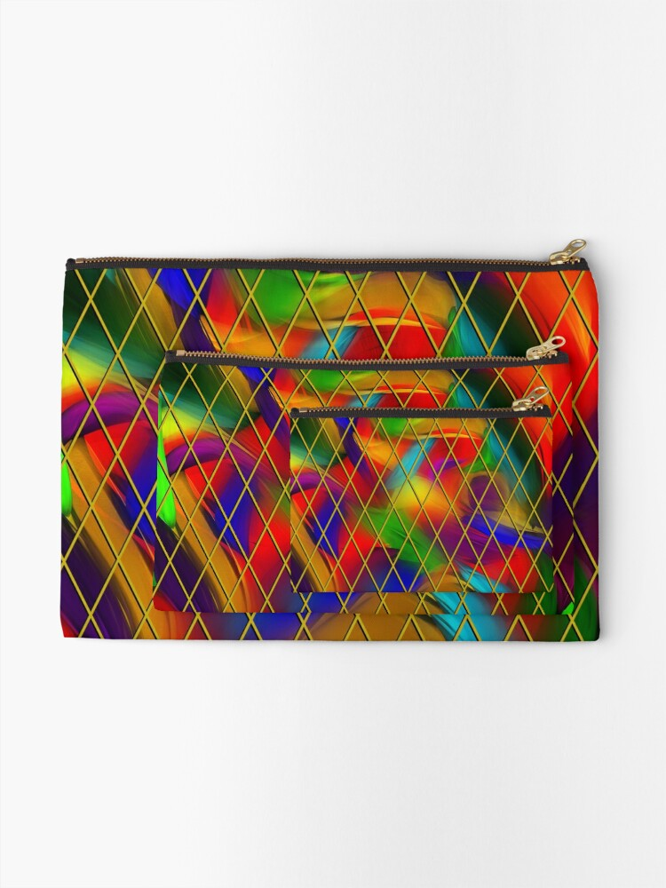 Alternate view of Golden Diamonds, Rainbow Void Zipper Pouch