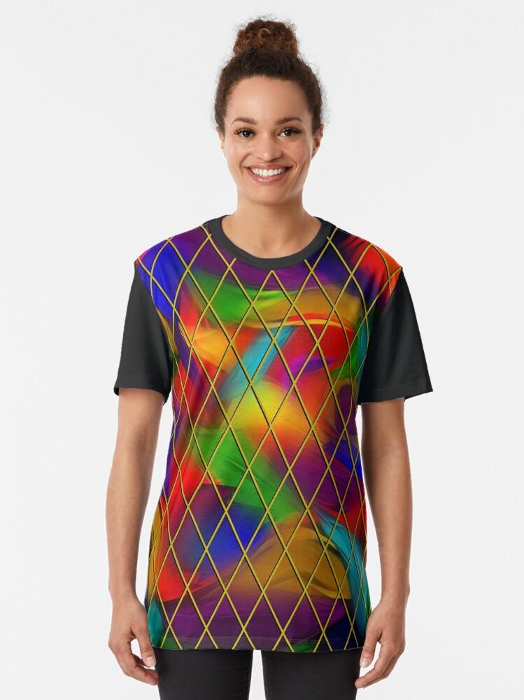 Alternate view of Golden Diamonds, Rainbow Void Graphic T-Shirt