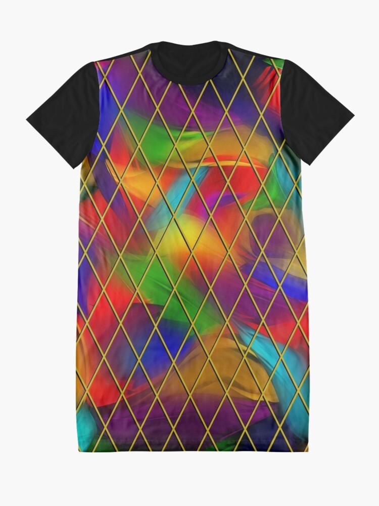 Alternate view of Golden Diamonds, Rainbow Void Graphic T-Shirt Dress