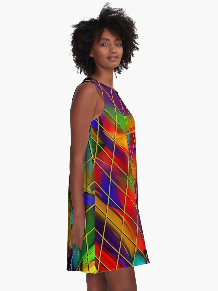 Alternate view of Golden Diamonds, Rainbow Void A-Line Dress