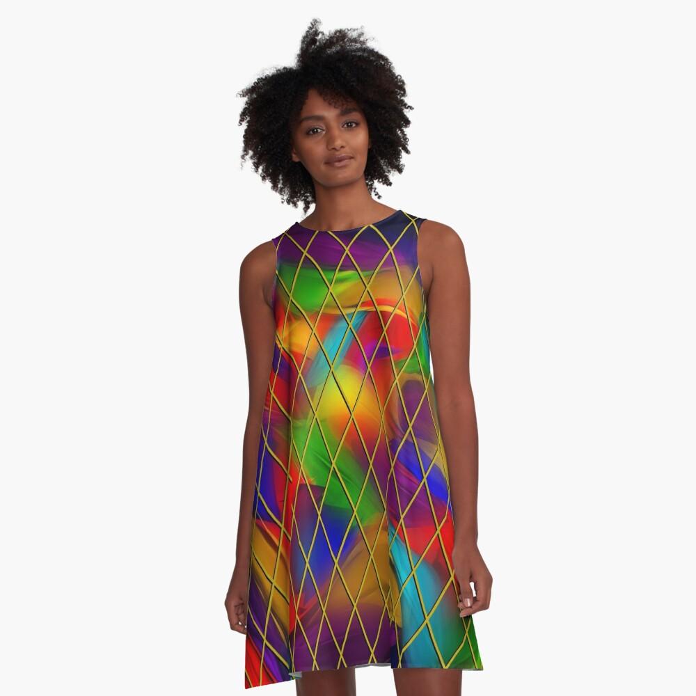 Golden Diamonds, Rainbow Void A-Line Dress