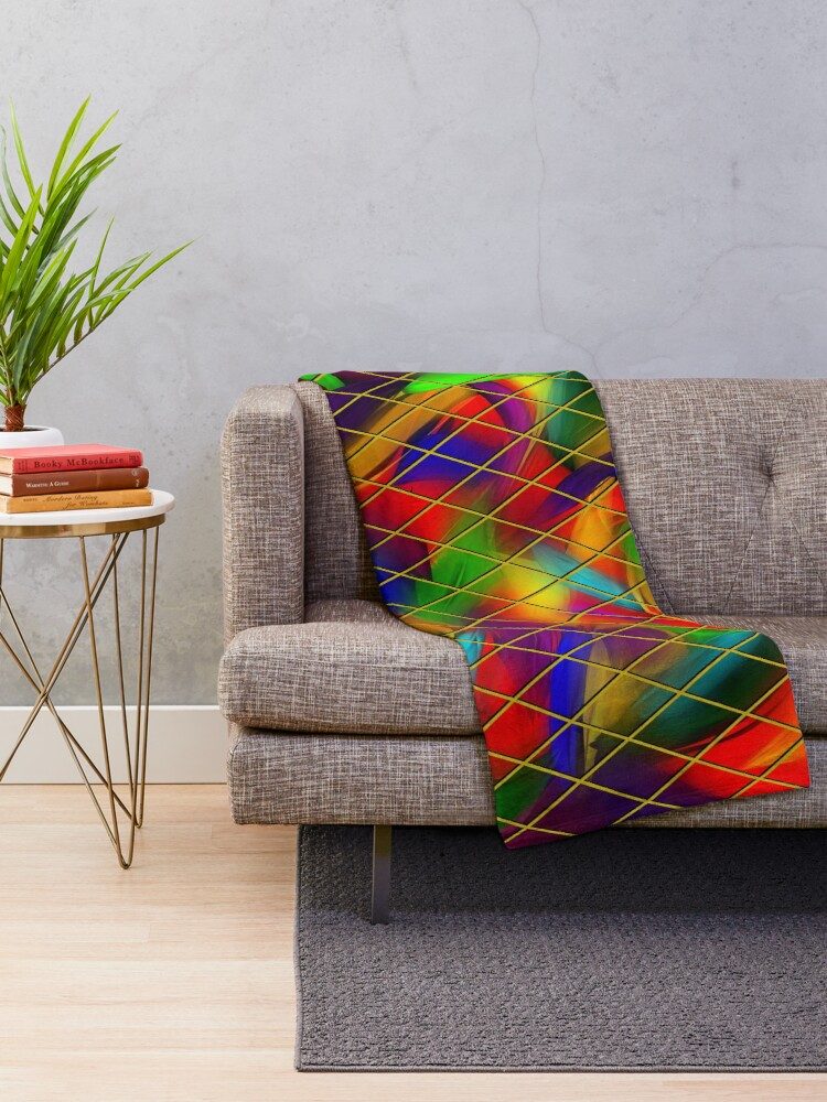Alternate view of Golden Diamonds, Rainbow Void Throw Blanket