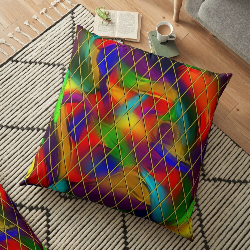 Golden Diamonds, Rainbow Void Floor Pillow