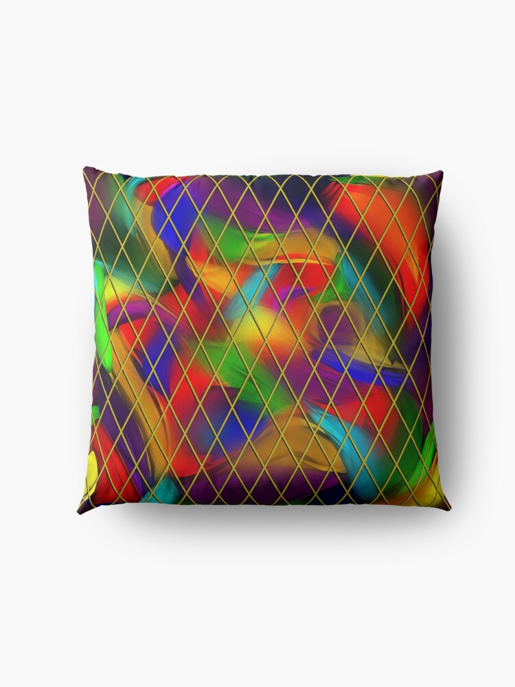 Alternate view of Golden Diamonds, Rainbow Void Floor Pillow