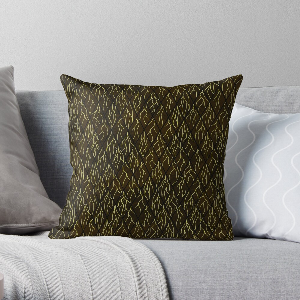 Earthen Scales, Golden Streams Throw Pillow