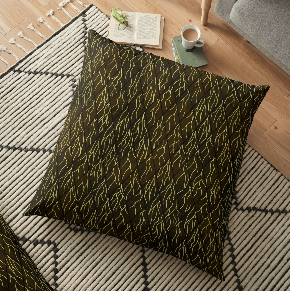 Earthen Scales, Golden Streams Floor Pillow