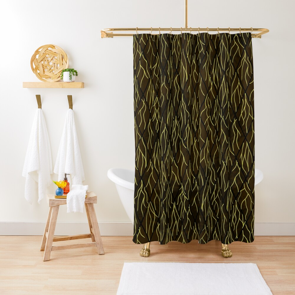 Earthen Scales, Golden Streams Shower Curtain