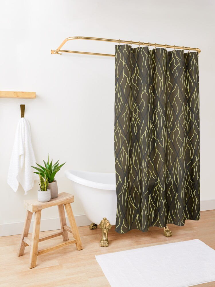Alternate view of Earthen Scales, Golden Streams Shower Curtain