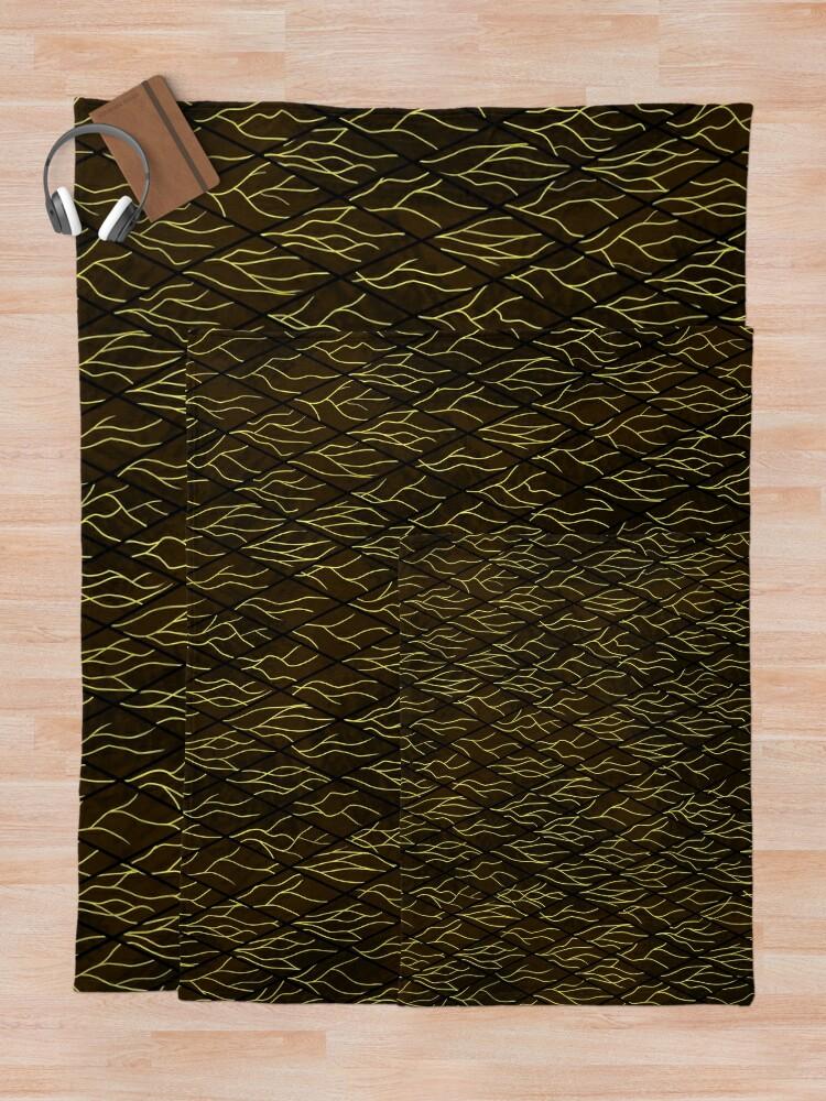 Alternate view of Earthen Scales, Golden Streams Throw Blanket