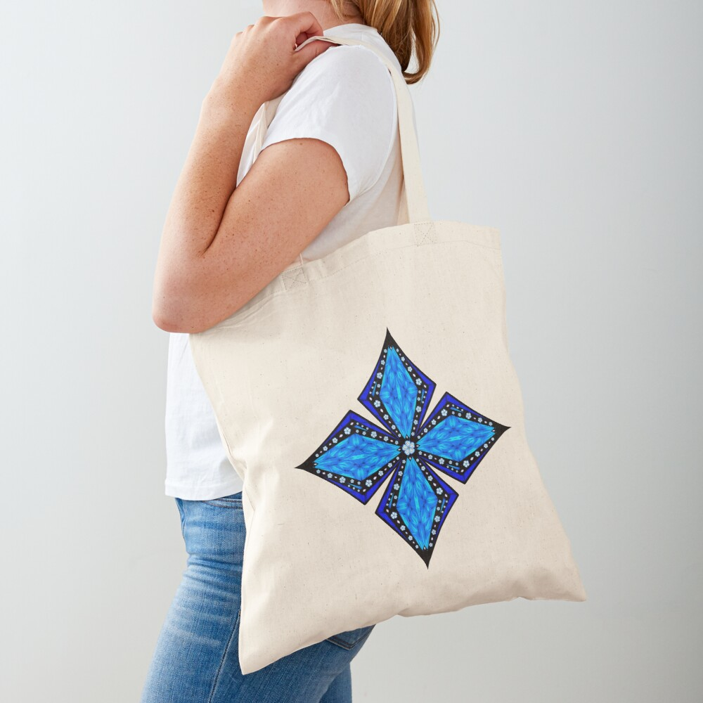 Onyx Beams of Flowers and Gems Tote Bag