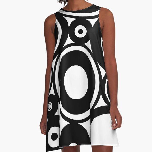 Retro Black White Circles Pop Art A-Line Dress