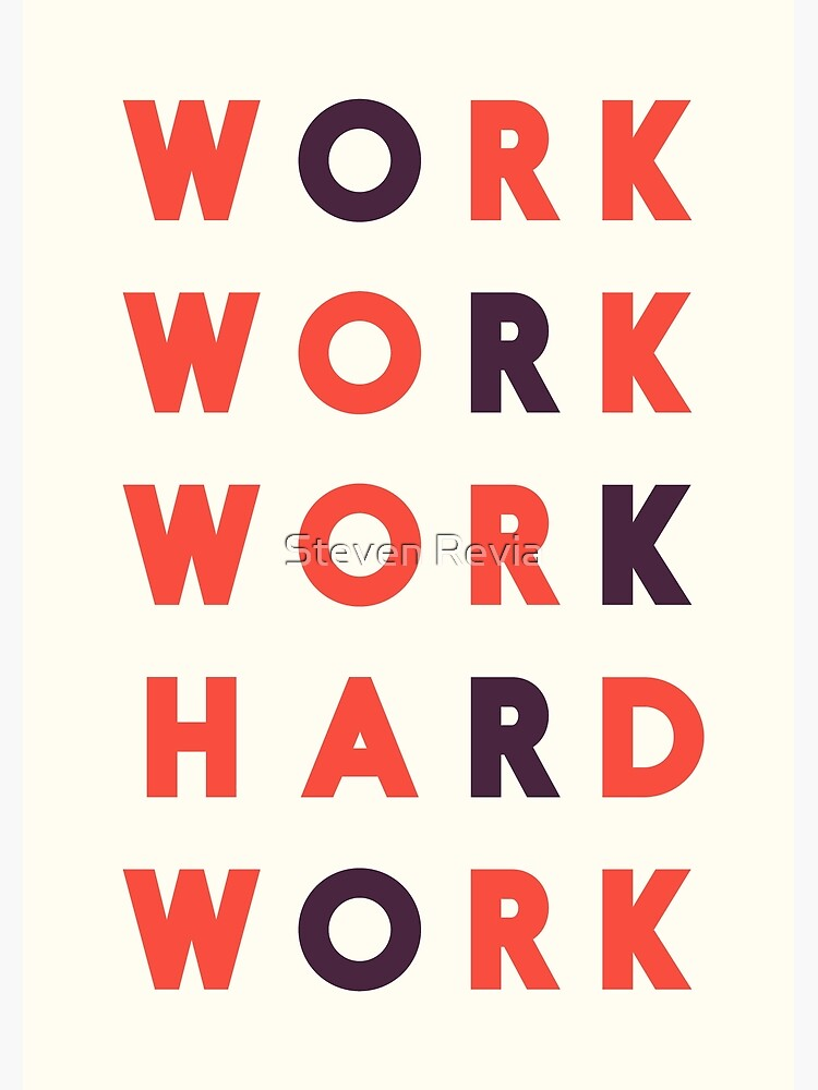 Work hard, hard work, office wall art, workshop sign, inspirational quote by Spallutos