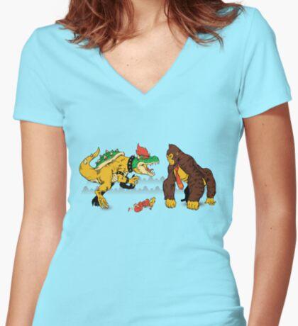 Boss vs Kong Women's Fitted V-Neck T-Shirt