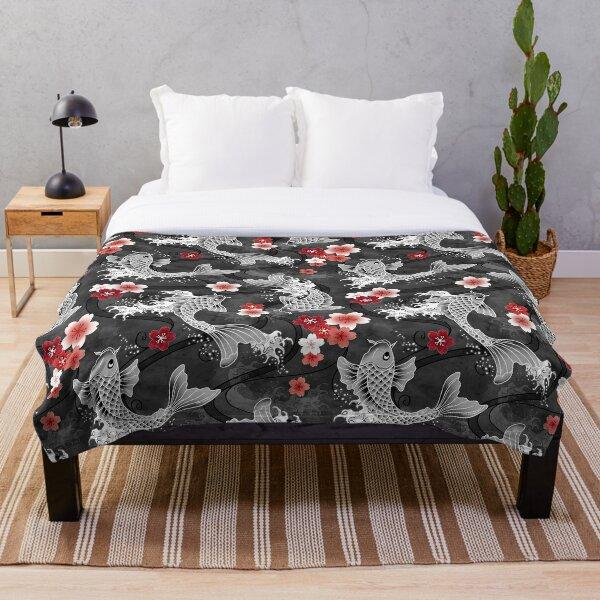 Koi sakura blossom in black Throw Blanket