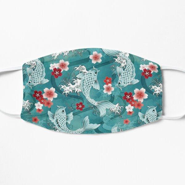 Koi sakura blossom in turquoise Flat Mask