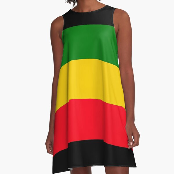 Green, Yellow and Red Rasta Flag A-Line Dress
