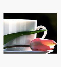 Demitasse and Tulips Photographic Print