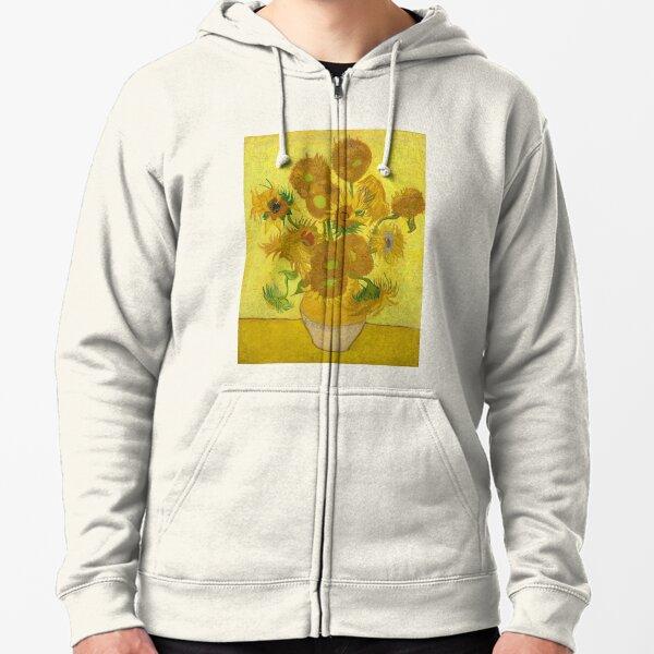 Van Gogh Yellow Sunflowers Zipped Hoodie