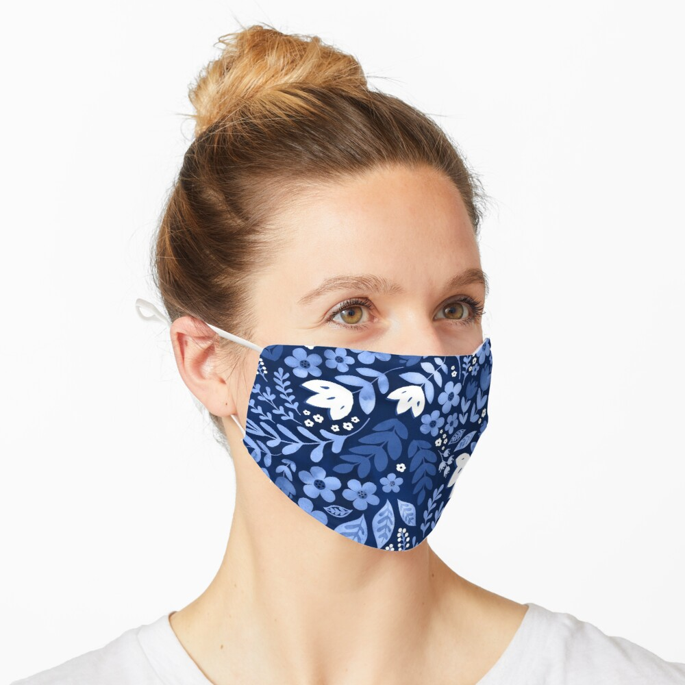 Dark blue watercolour floral  Mask