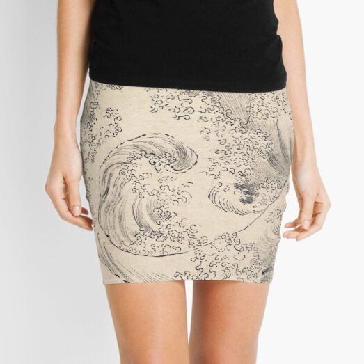 Wave by Katsushika Hokusai, Vintage Japanese Print Mini Skirt