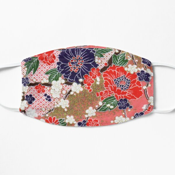 RED BLUE WHITE SPRING FLOWERS ,IN PINK AND GOLD Antique Japanese Floral Mask