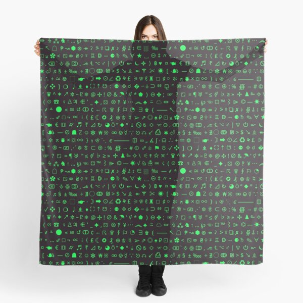 Esoteric symbols scarf - Unicode special characters - green/terminal Scarf
