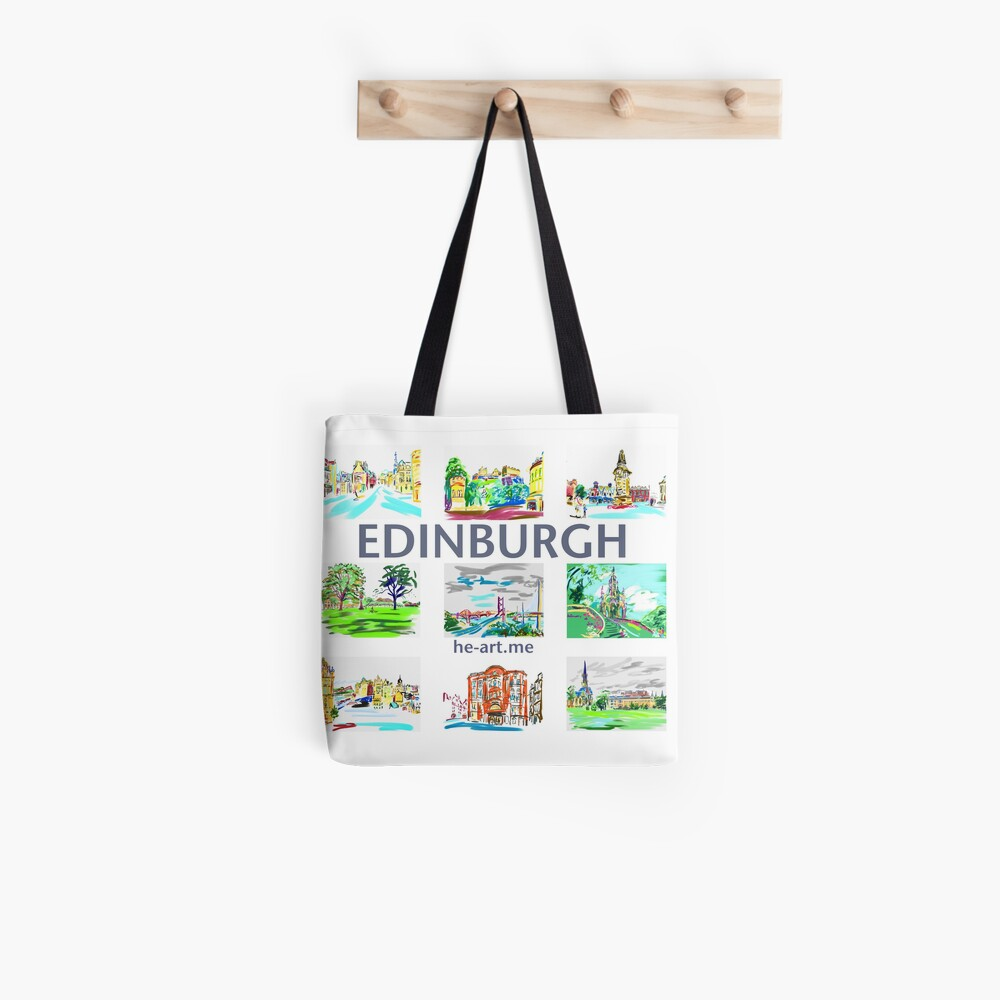 Edinburgh in a panel of 9 at full colour  Tote Bag