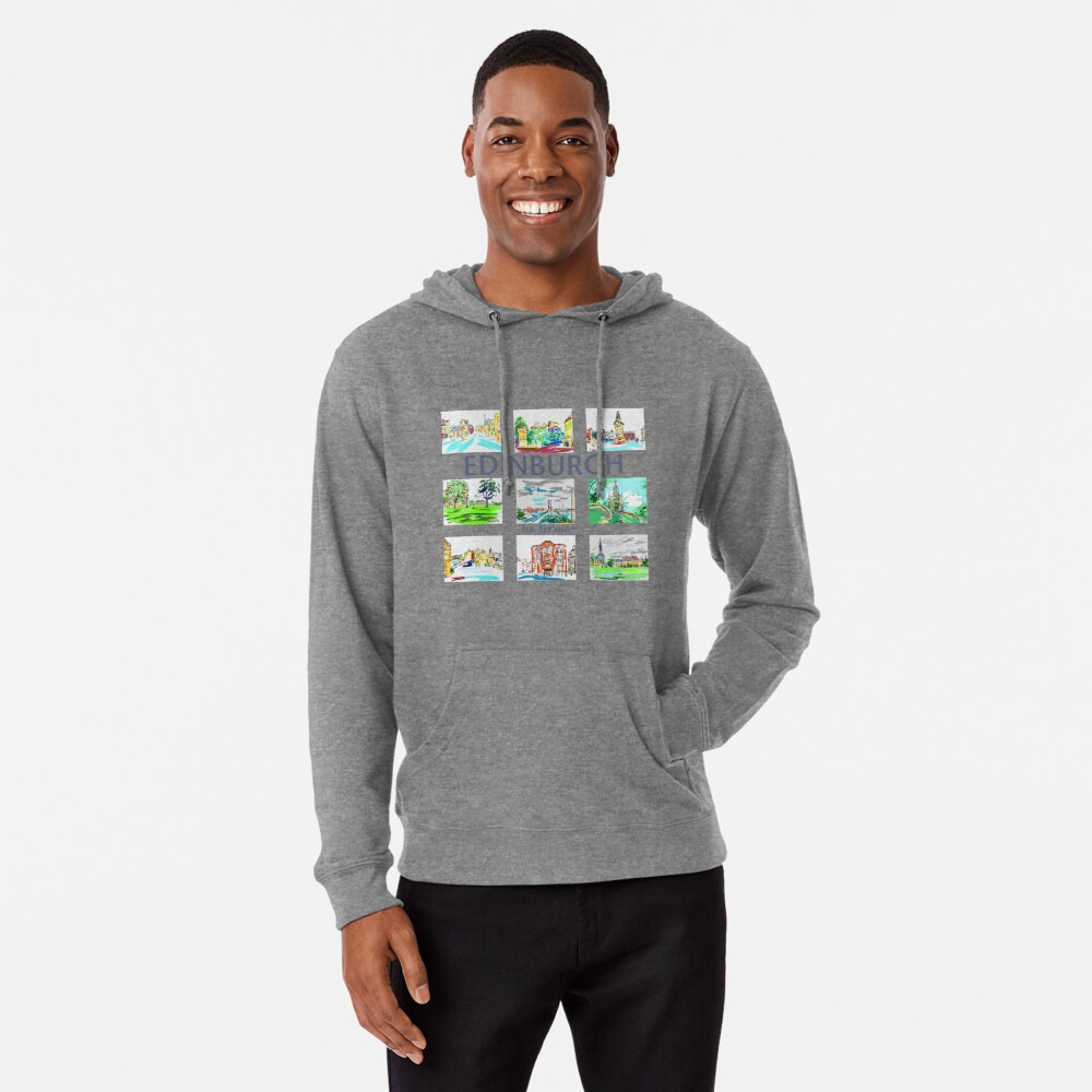Edinburgh in a panel of 9 at full colour  Lightweight Hoodie