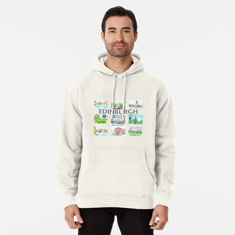 Edinburgh in a panel of 9 at full colour  Pullover Hoodie