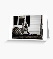 Little Amish Girl on Front Porch Swing Greeting Card
