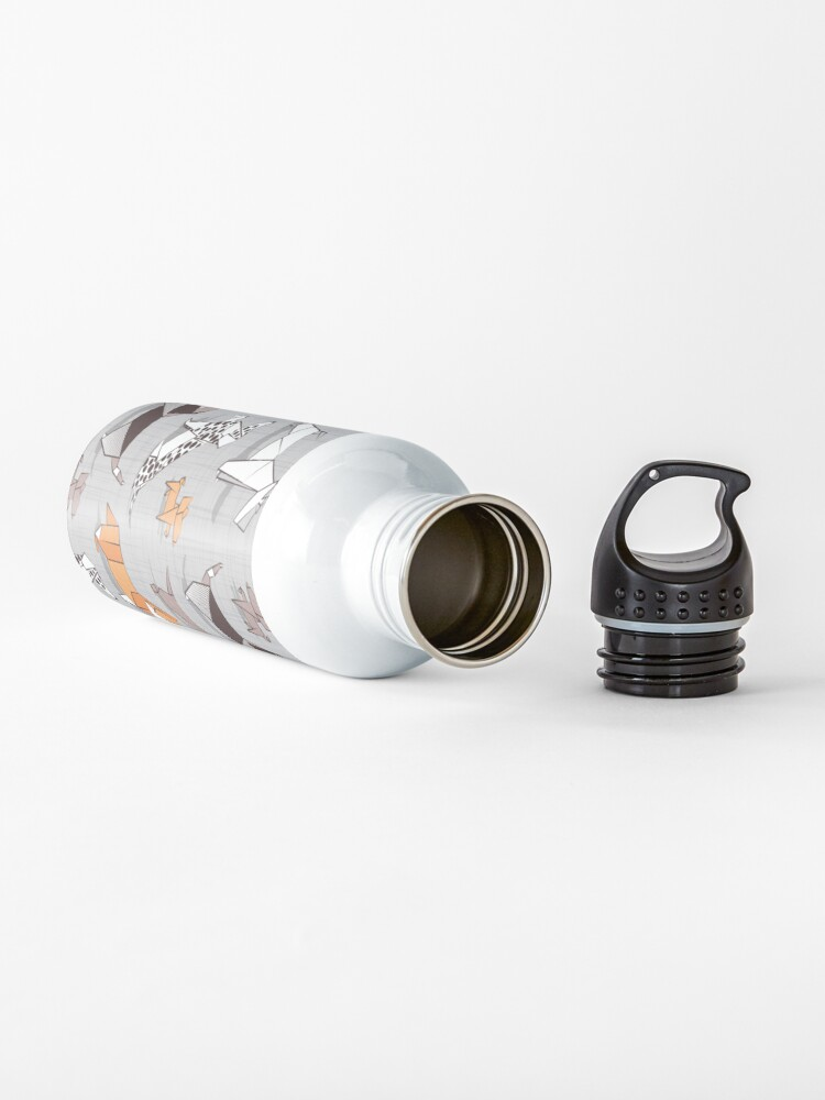 Alternate view of Origami doggie friends // grey linen texture background Water Bottle