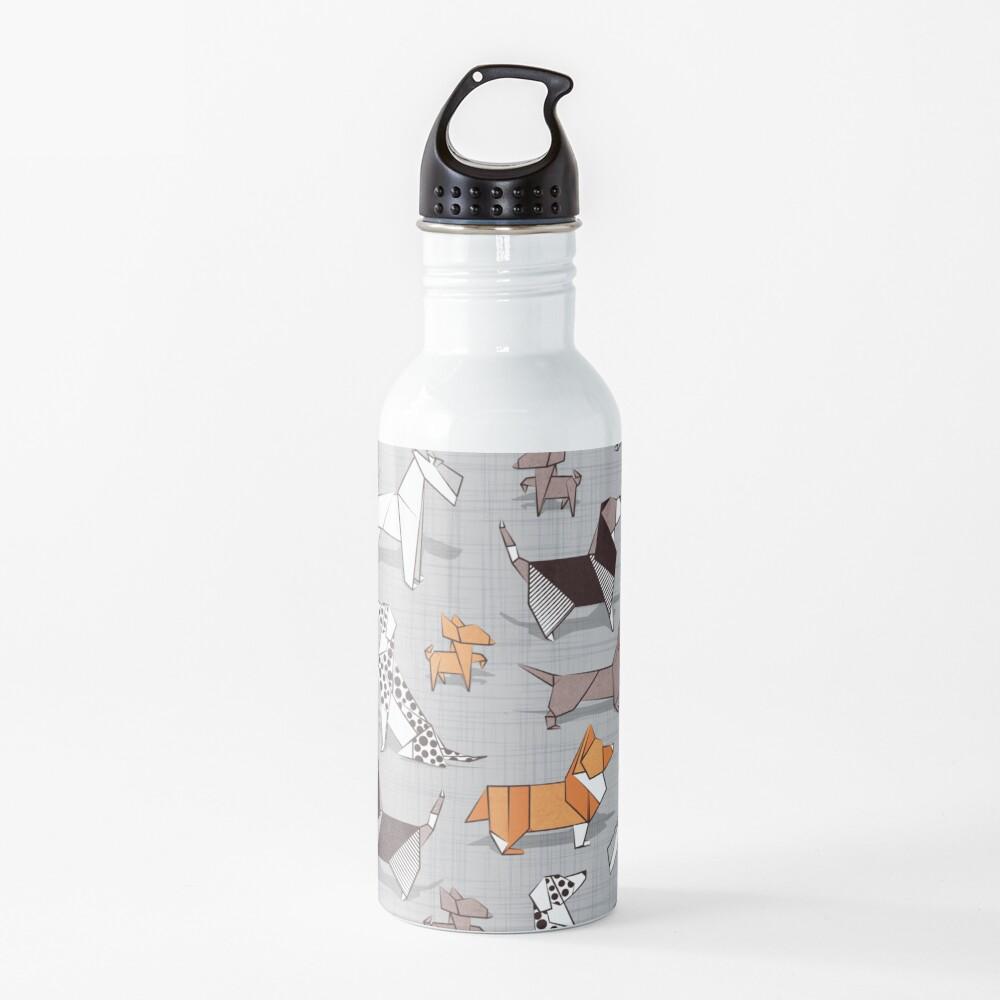 Origami doggie friends // grey linen texture background Water Bottle