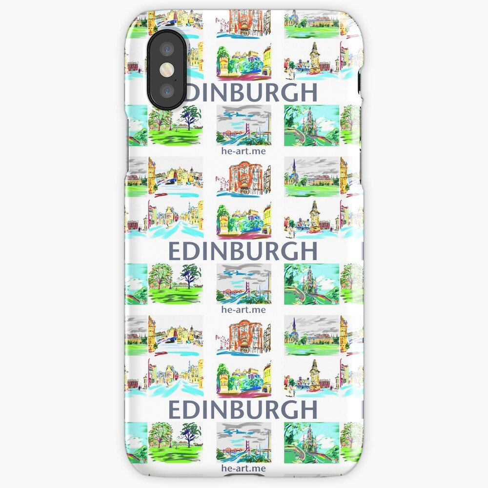 Edinburgh in a panel of 9 at full colour  iPhone Case & Cover